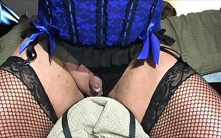 Sharigurl Blue Teddiette Sissy Clit Cums Riding Dildo